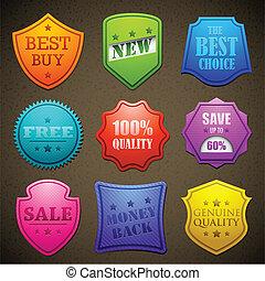 het verkopen, badge, kleurrijke