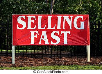 het verkopen, vasten, meldingsbord