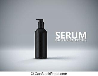 het verouderen, advertenties, poster, template., anti, serum