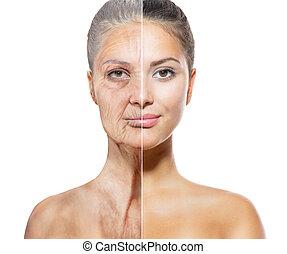 het verouderen, oud, concept., jonge, skincare, gezichten, ...