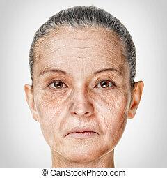 het verouderen, vrouw, oud, proces, confronteren beeltenis