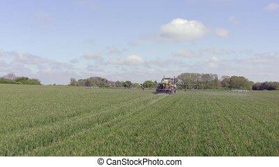 het verstuiven, tractor, landbouwkundig, controversieel,...
