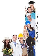 het vertegenwoordigen, beroepen, anders, groep, mensen