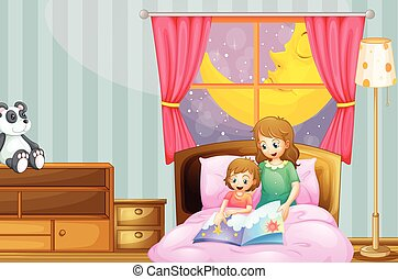 het vertellen verhaal, nacht, bedtijd, moeder