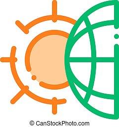 het verwarmen, probleem, zon, planeet, lijn, mager, vector, pictogram