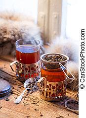 het verwarmen, thee, gediende, in, ouderwets