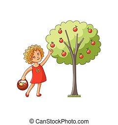 het verzamelen, appelboom, vector, appeltjes , meisje