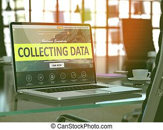 het verzamelen, data, concept, op, draagbare computer, screen.