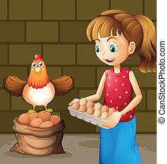 het verzamelen, eitjes, landbouwer, vrouw