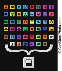 het verzamelen, iconen, kleur, symbool, moderne, persoonlijke computer