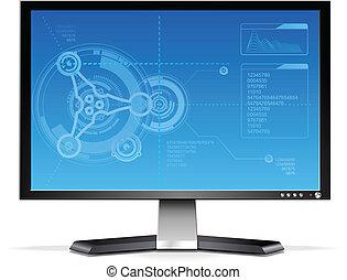 het vlakke scherm, computer, lcd, monitor