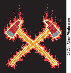 het vlammen, brandweerman, bijl