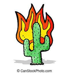het vlammen, cactus, spotprent