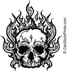 het vlammen, schedel, grafisch, vector, beeld