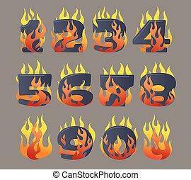 het vlammen, set, getallen
