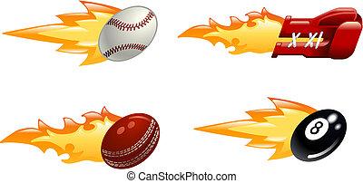 het vlammen, sportende, glanzend, iconen