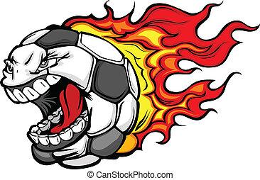 het vlammen, voetbal, gegil, gezicht, vector, spotprent