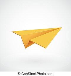 het vliegtuig van het document, vector, illsutration, gele