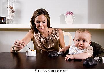 het voeden, moeder, baby stoel, zittende , hoog