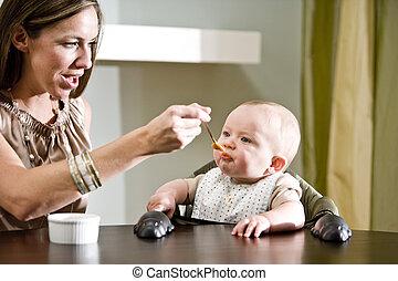 het voeden, moeder, voedingsmiddelen, baby, vast lichaam