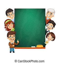 het voorstellen, chalkboard, lege, leraren
