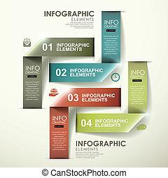 het vouwen, abstract, moderne, etiket, infographic, glanzend