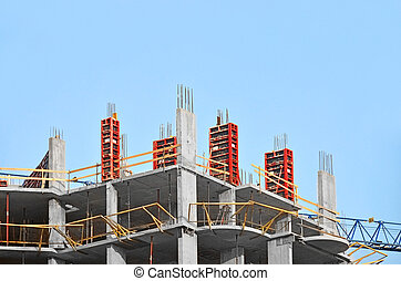 het vouwen, beton, bouwterrein, mechanisme, formwork, bouwsector