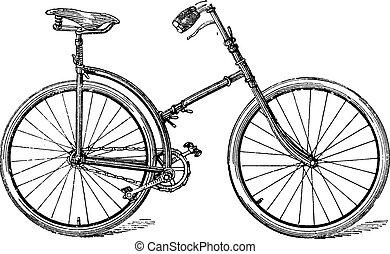 het vouwen, fiets, krom, ouderwetse , engraving.