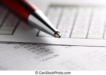 het werken, begroting, kalender, en, pen