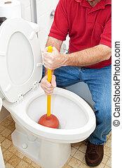 het werpen zich, toilet