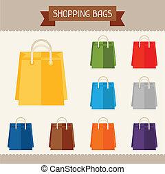 het winkelen zakken, gekleurde, voorbeelden, voor, jouw, ontwerp, in, plat, style.