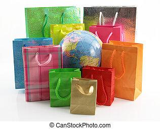 het winkelen zakken, ongeveer, van, de wereld, globe
