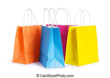 het winkelen zakken, vrijstaand, op, de, witte achtergrond