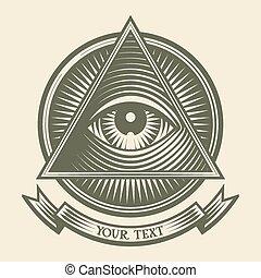 het zien, alles, oog