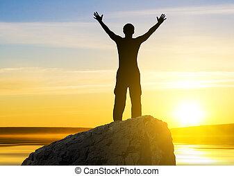 het zien, zon, persoon, van, silhouette