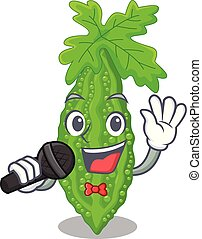 het zingen, bittere meloen, karakter, op, groentes, fris