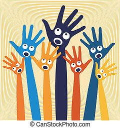 het zingen, blij, hands., mensen