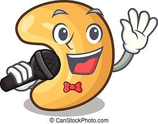 het zingen, cashew noten, warme, tafel, bakt, spotprent