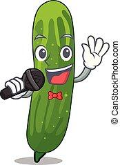 het zingen, fris, komkommer, vrijstaand, in, de, spotprent