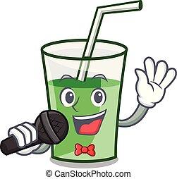 het zingen, groene, smoothie, mascotte, spotprent
