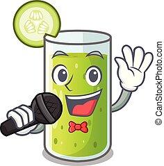het zingen, heerlijk, komkommer, sap, op, tafel, spotprent