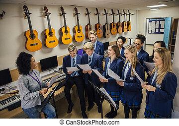 het zingen, les, muziek