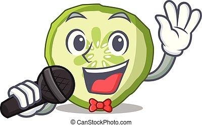 het zingen, mascotte, snede, komkommer, om te koken, groente