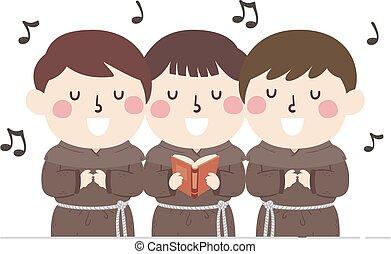 het zingen, monnik, geitjes, illustratie