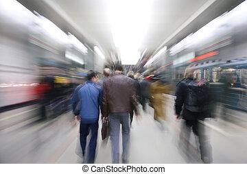 het zoemen, passagiers, in, metro