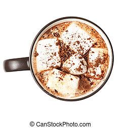 hete chocolade, met, marshmallows, in, een, kop, vrijstaand, op wit, achtergrond, afsluiten, boven., kerstmis, winter, drank