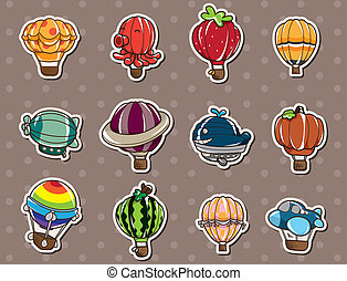 hete lucht, stickers, balloon, spotprent