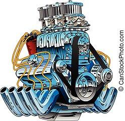 hete staaf, de auto van het ras, dragster, motor, spotprent, vector, illustratie
