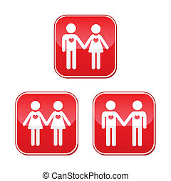 Hetero gay and lesbian love buttons