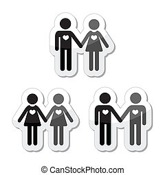 Hetero, gay, and lesbian love - Relationship diverstiy icons...